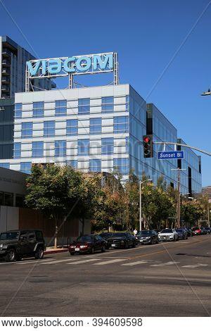 Hollywood, California / USA - November 10, 2020: VIACOM building in Hollywood California. Editorial use only