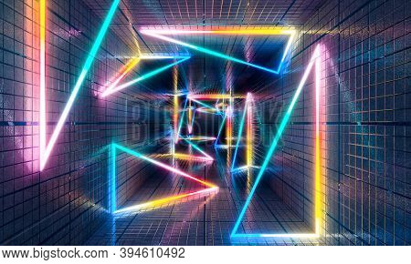 multicolored neon light geometric shapes and triangles in concrete tunnel, futuristic abstract background. 3d render.