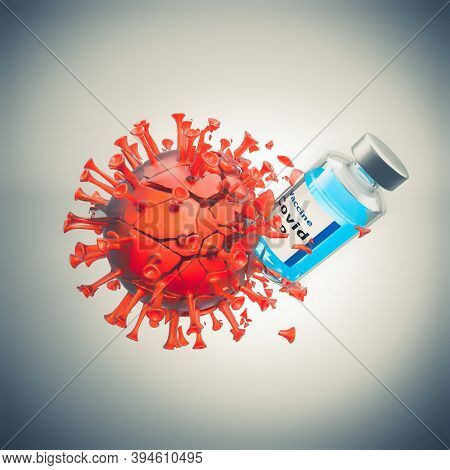 vaccine affects destroys and defeats the covid-19 virus. 3d render.
