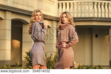 Girls Look Very Nice In Fall Outfits. Emphasize Waist With Strap Belt. Knitwear Concept. Cashmere Wo