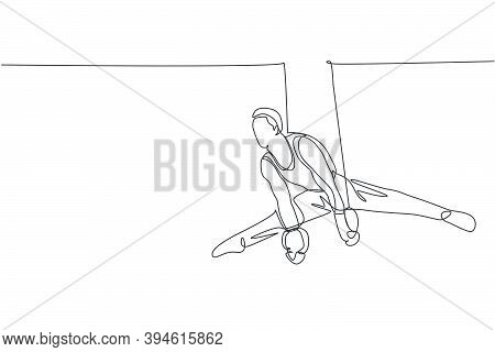 One Continuous Line Drawing Of Young Man Exercising Steady Rings At Gymnastic. Gymnast Athlete In Le