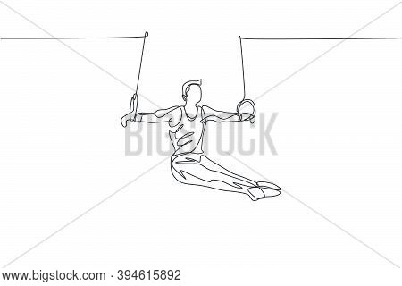 One Single Line Drawing Of Young Handsome Gymnast Man Exercising Steady Rings Vector Illustration Gr