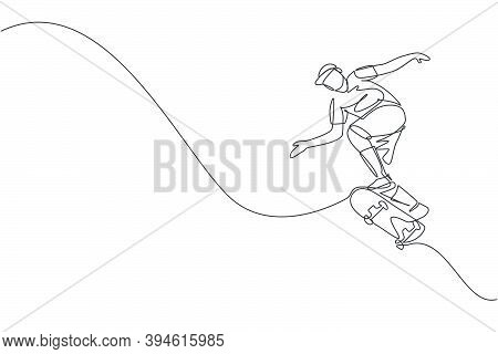 One Continuous Line Drawing Of Young Cool Skateboarder Man Riding Skateboard And Jumping To Do A Tri