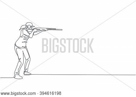 Single Continuous Line Drawing Of Young Athlete Woman Shooter Holding Gun And Training To Aim Target