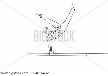 One Continuous Line Drawing Of Young Man Exercising Parallel Bars Gymnastic. Gymnast Athlete In Leot