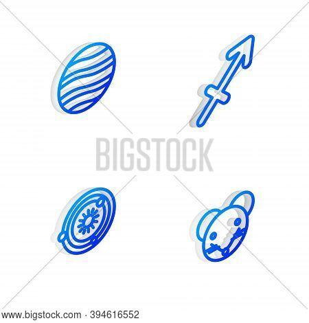 Set Isometric Line Sagittarius Zodiac, Planet Jupiter, Solar System And Rat Icon. Vector