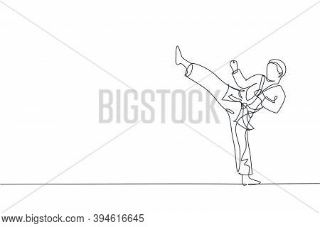 Single Continuous Line Drawing Of Young Confident Karateka Man In Kimono Practicing Karate Combat At
