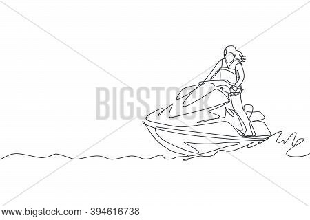 One Single Line Drawing Of Young Sporty Woman Play Jet Skiing In The Sea Beach Vector Illustration.