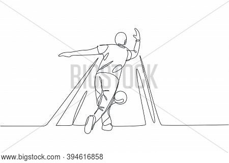 One Continuous Line Drawing Of Young Happy Bowling Player Man Throw Ball Into Lane To Hit The Pin. H