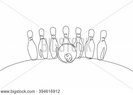 One Continuous Line Drawing Of Bowling Pins Lined Up At Bowling Lane. Healthy Sport Logo, Icon And S