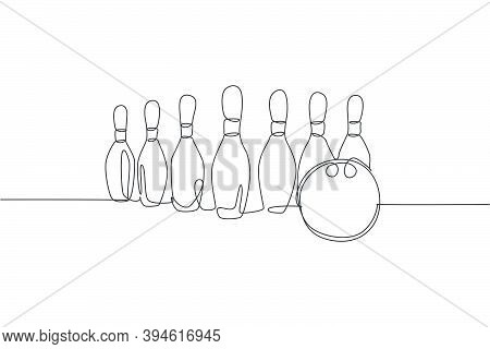 Single Continuous Line Drawing Bowling Pins Lined Up At Bowling Lane. Doing Sport Hobby At Leisure T