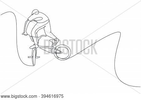 Single Continuous Line Drawing Of Young Bmx Cycle Rider Show Flying Into The Air Trick In Skatepark.