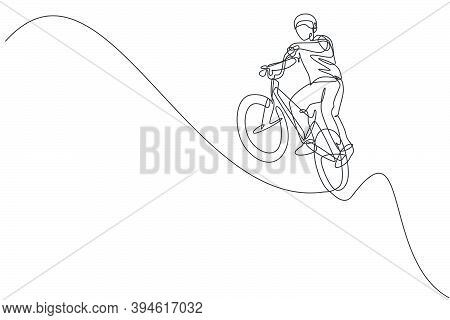 Single Continuous Line Drawing Of Young Bmx Cycle Rider Show Flying On The Air Trick In Skatepark. B