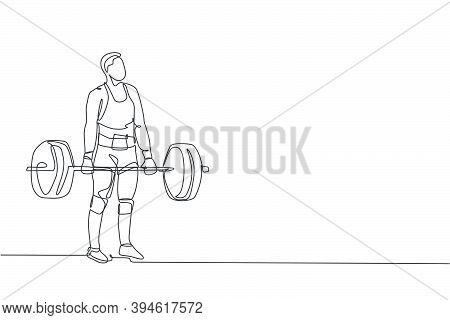 One Single Line Drawing Of Fit Young Athlete Muscular Man Lifting Barbells Working Out At A Gym Vect