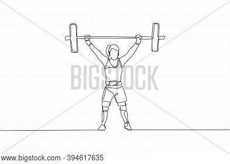 One Continuous Line Drawing Young Bodybuilder Woman Doing Exercise With A Heavy Weight Bar In Gym. P