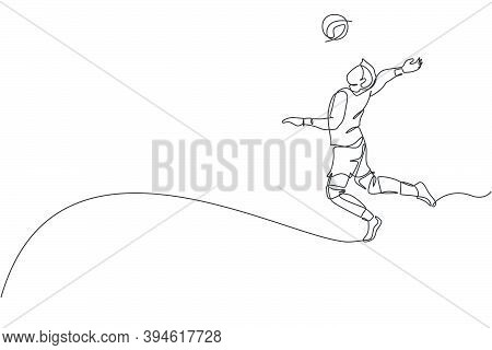 One Single Line Drawing Of Young Male Professional Volleyball Player Exercising Jumping Spike On Cou