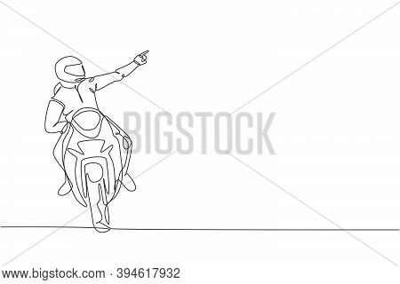 Single Continuous Line Drawing Of Young Superbike Racer Pointing Finger To The Spectators. Moto Tour