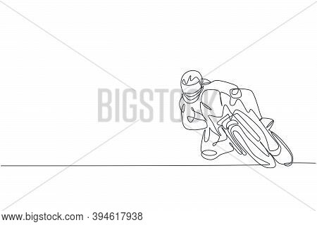 Single Continuous Line Drawing Of Young Superbike Racer Practice Leaning At Circuit Track. Motogp To