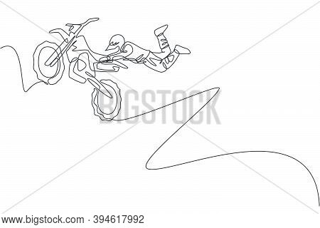 Single Continuous Line Drawing Of Young Motocross Rider Acrobatic Flying With His Bike. Extreme Spor