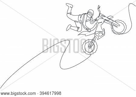 One Single Line Drawing Of Young Motocross Rider Does Dangerous Freestyle Trick At Track Vector Illu