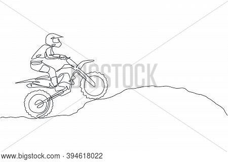 One Continuous Line Drawing Of Young Motocross Rider Climb Mound Of Land At Race Track. Extreme Spor