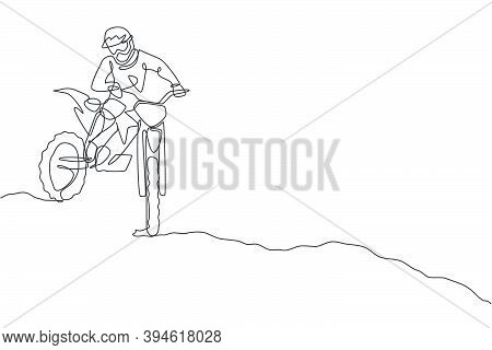 Single Continuous Line Drawing Of Young Motocross Rider Down The Hill At Full Speed. Extreme Sport R