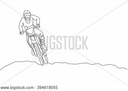 Single Continuous Line Drawing Of Young Motocross Ride Drive The Bike So Fast At Track. Extreme Spor