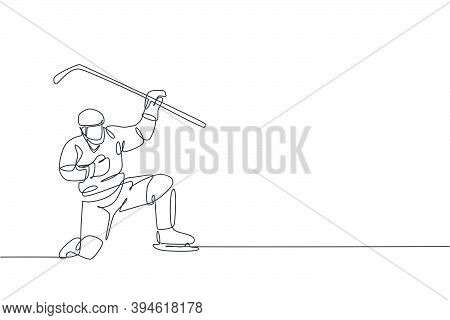 Single Continuous Line Drawing Of Young Professional Ice Hockey Player Celebrate A Goal Score On Ice