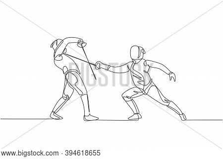 One Single Line Drawing Of Two Young Women Fencer Athlete In Fencing Costume Exercise Duel On Sport