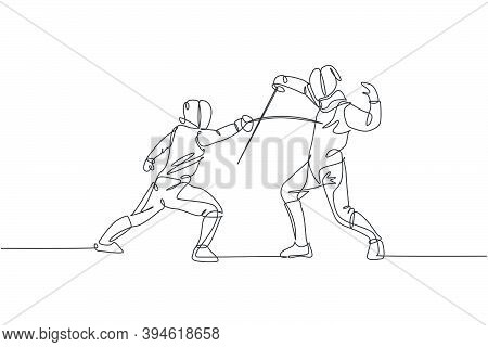 Single Continuous Line Drawing Two Young Pro Fencer Athlete Women In Fencing Mask And Rapier Duel At