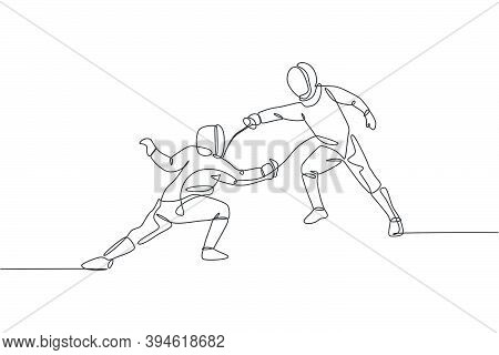 One Continuous Line Drawing Of Two Young Men Fencing Athlete Practice Fighting Action On Sport Arena
