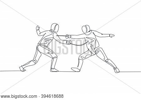 Single Continuous Line Drawing Of Two Young Pro Fencer Athlete Women In Fencing Mask And Rapier Duel