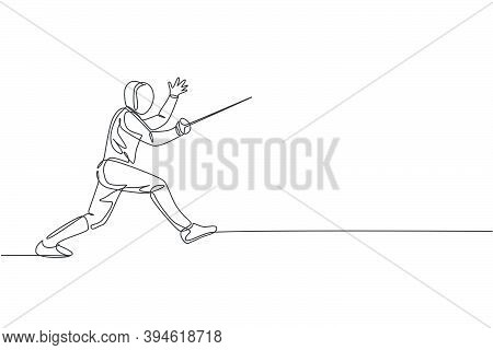 One Continuous Line Drawing Of Young Man Fencing Athlete Practice Fighting On Professional Sport Are