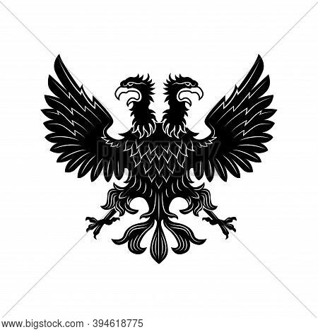 Double Eagle Vector Illustration. Imperial Heraldry, Two Headed Hawk, Noble Bird. Monarchy Or Nobili