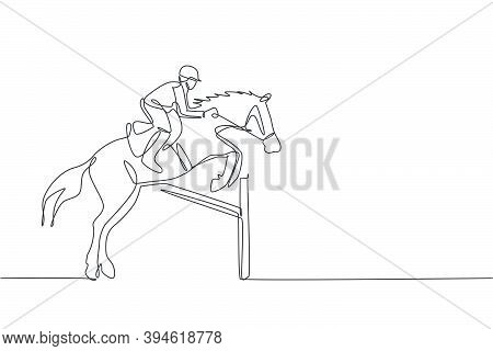 One Single Line Drawing Of Young Horse Rider Man Performing Dressage Jumping The Hurdle Test Vector