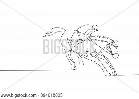 One Continuous Line Drawing Of Young Horse Rider Man In Action. Equine Training At Racing Track. Equ