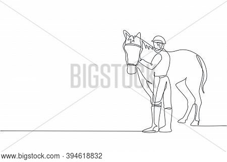One Continuous Line Drawing Of Young Horse Rider Man Rubbing And Stroking Horsehair. Equine Pet Care