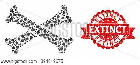 Vector Collage Crossing Bones Of Covid-2019 Virus, And Extinct Grunge Ribbon Seal. Virus Cells Insid
