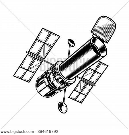 Vintage Satellite For Research Vector Illustration. Monochrome Sticker With Artificial Satellite. Di