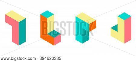 Dimension 3d Retro Puzzle Figures Colorful Vector Game Blocks.