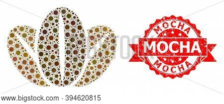 Vector Collage Coffee Beans Of Covid-2019 Virus, And Mocha Dirty Ribbon Stamp Seal. Virus Particles