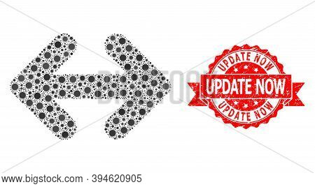 Vector Mosaic Exchange Arrows Horizontally Of Coronavirus, And Update Now Corroded Ribbon Stamp Seal