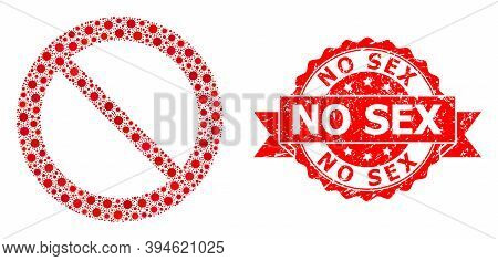 Vector Mosaic Forbidden Of Covid-2019 Virus, And No Sex Rubber Ribbon Stamp. Virus Particles Inside