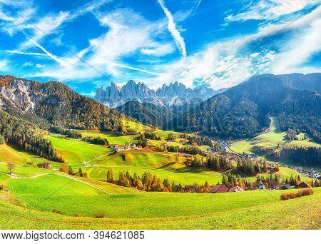 Colorful Autumn Scene Of Magnificent  Santa Maddalena Village In Dolomites.  Location: Santa Maddale