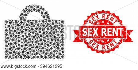 Vector Mosaic Baggage Of Virus, And Sex Rent Dirty Ribbon Stamp Seal. Virus Elements Inside Baggage
