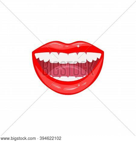 Open Smiling Female Mouth With Healthy White Teeth. Close-up Of Red Glowing Sensual Lips. Dental Hea