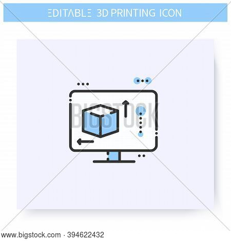 3d Printing Software Line Icon. Cad And Modeling Tools On Computer. G-code. Additive Manufacturing,