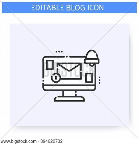 Notification Line Icon. New Unread Message Notice. Internet Communication, Chatting. Blogging And Br