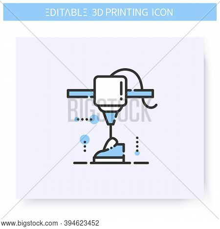 3d Printing Line Icon.new Shoe Prototype Under Printing Head.3d Printing In Product Design.additive