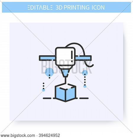3d Printing Line Icon. New Product Under Printing Head. 3d Modeling Or Rendering Process. Additive M